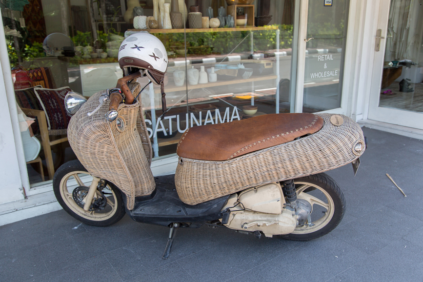 Vespa scooter with cane basket feature