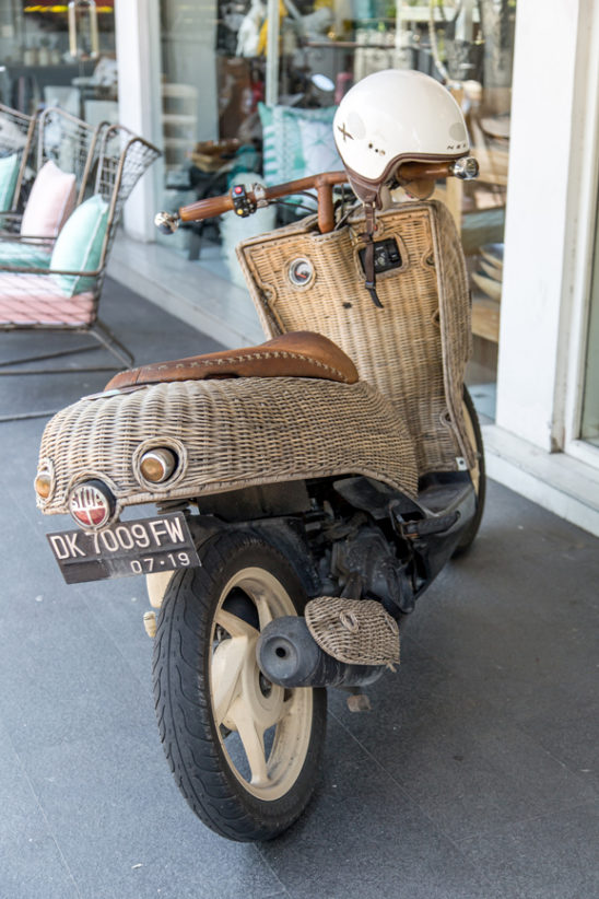Vespa scooter with cane basket feature back view