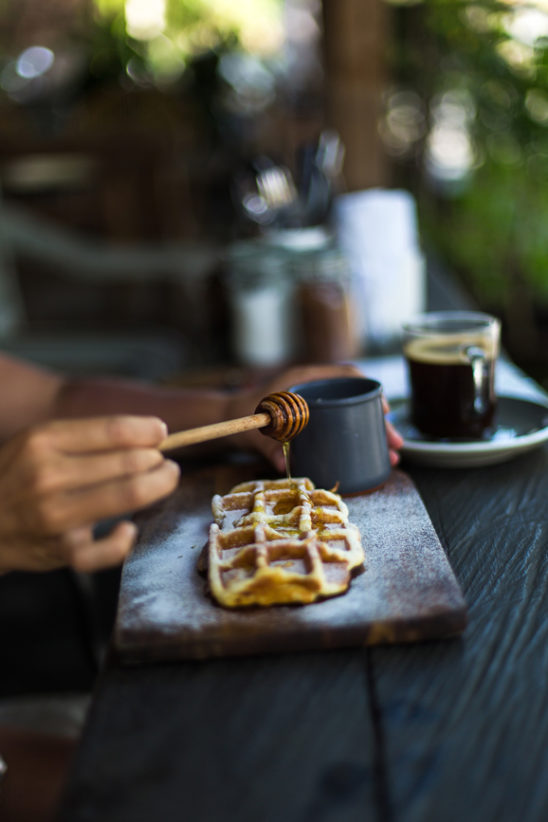 Breakfast Waffle with Maple Syrup