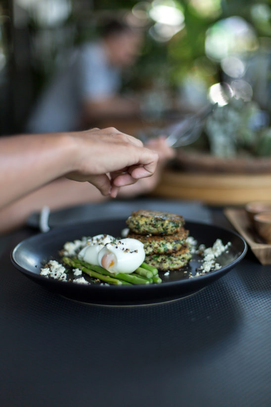 Quinoa and spinach fritters with asparagus and soft boiled eggs