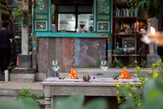 Single outdoor table setting at Dandelion cafe