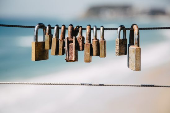 Close up of Love Locks at Burleigh Heads National Park lookout Gold Coast Queensland Australia