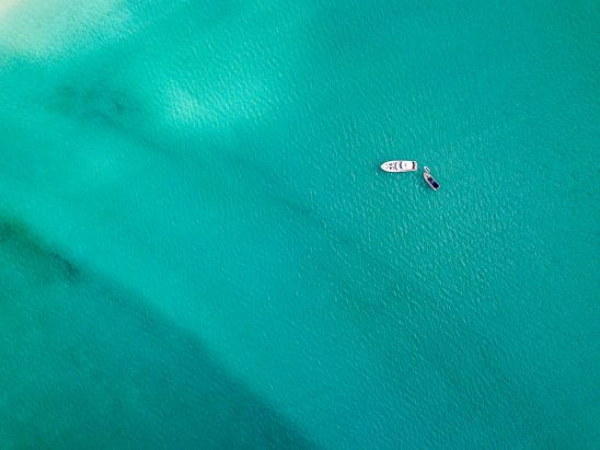 Aerial view of boat in Whitsundays