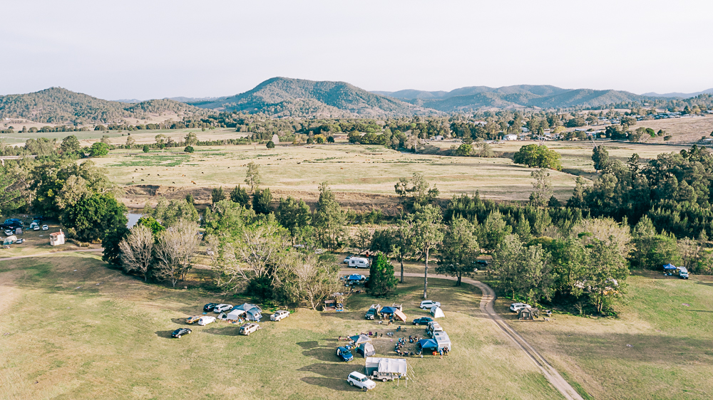 Camping group on working farm in Kenilworth Queensland