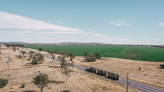 Road train on outback road